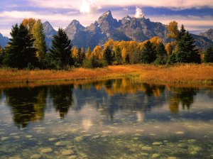 Along the Snake River at Sunrise Below Mount Moran Grand Teton National Park Wyoming