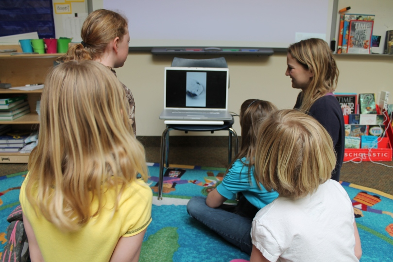 A few of the Pinedale 3rd graders who missed class came back later to finish and watch their videos!