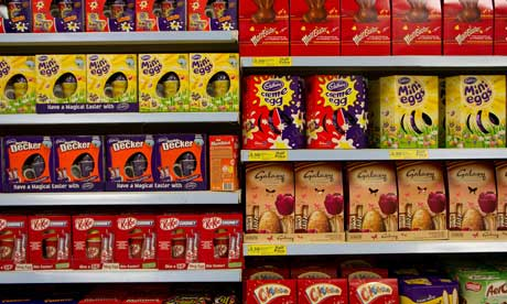 Chocolate easter eggs (and palm oil) on sale in a UK supermarket