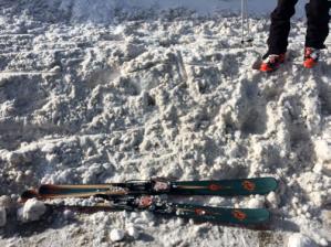 My skis soaking up the WYDOT pow