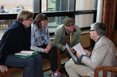 Delegates discuss ideas at the Festival